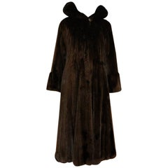 Fabbri Furiers Chicago Full Length Canadian Female Mink Felts Coat Size S