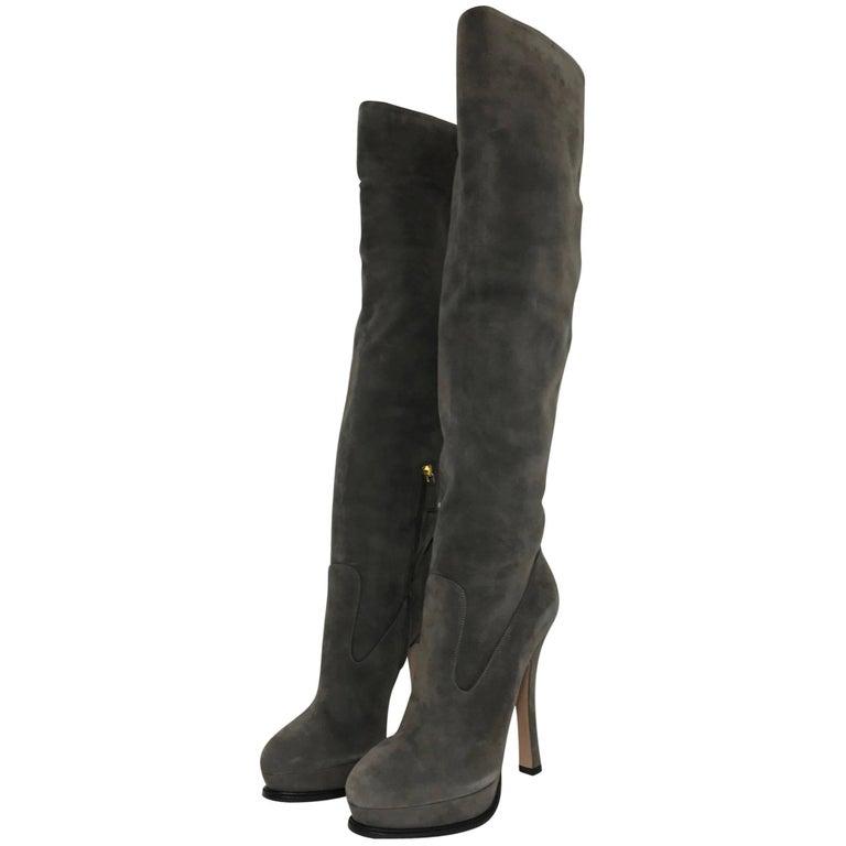 Prada Slouch Over the Knee High Heel Platform Boots in Grey Suede