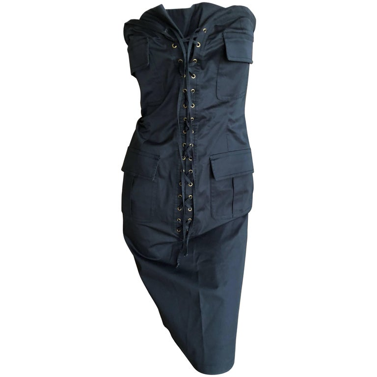 Yves Saint Laurent by Tom Ford Strapless Black Safari Dress with Corset Lacing  For Sale