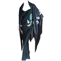 John Galliano Bias Cut Vintage Butterfly Embroidered Dress with Piano Fringed Sh