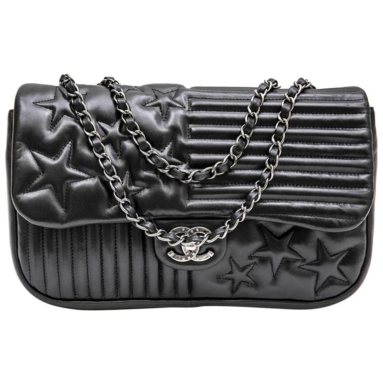 6fe1eaece2a5 CHANEL  Paris-Dallas  Flap Bag in Black Smooth Soft Lambskin Leather ...