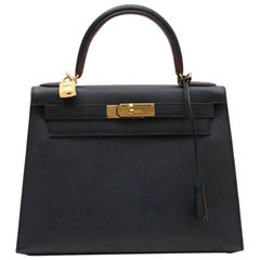 Special HERMES Kelly 28 Bag in Bicolor Blue Indigo and Burgundy Epsom Leather