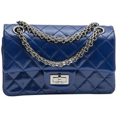 CHANEL Mini 2.55 Double Flap Bag in Blue Electric Grained Quilted Leather