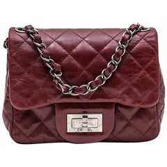 CHANEL Mini 2.55 Bag in Burgundy Quilted Leather