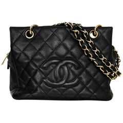 Chanel Black Caviar Leather Quilted Petite Timeless Tote PTT Bag