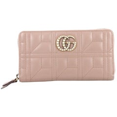 Gucci Pearly GG Marmont Zip Around Wallet Matelasse Leather
