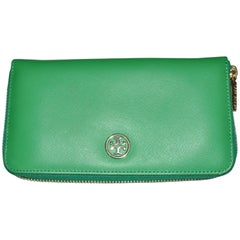 Tory Burch Emerald Green Leather Dena Zip Wallet (Never Used)