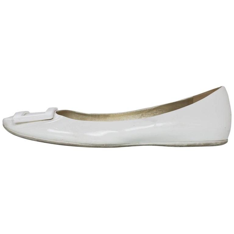 Roger Vivier White Patent Gommette Ballerina Flats Sz 40 For Sale