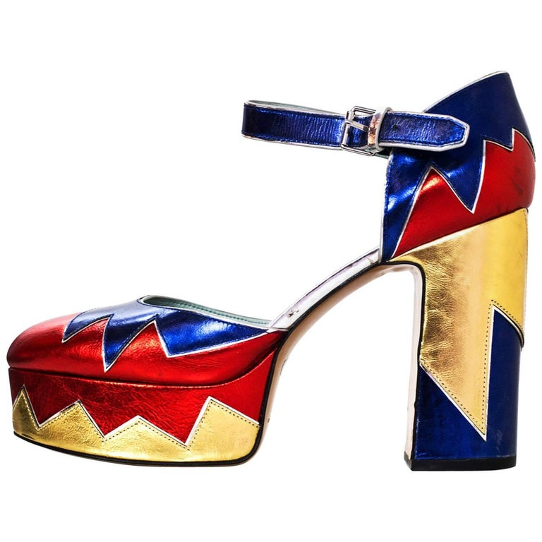 Marc Jacobs Metallic Tri-Color 110mm Victoria Platform Pumps Sz 40 For Sale
