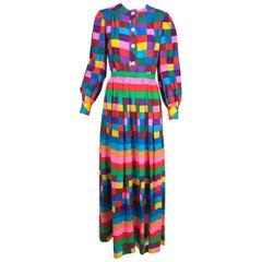 Valentino Boutique silk colour block maxi dress 1970s