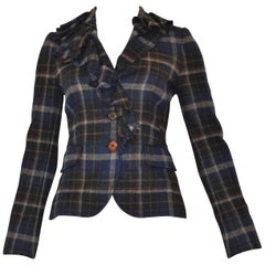 Moschino Cheap and Chic Ruffle Trim Plaid Jacket (38 Itl)