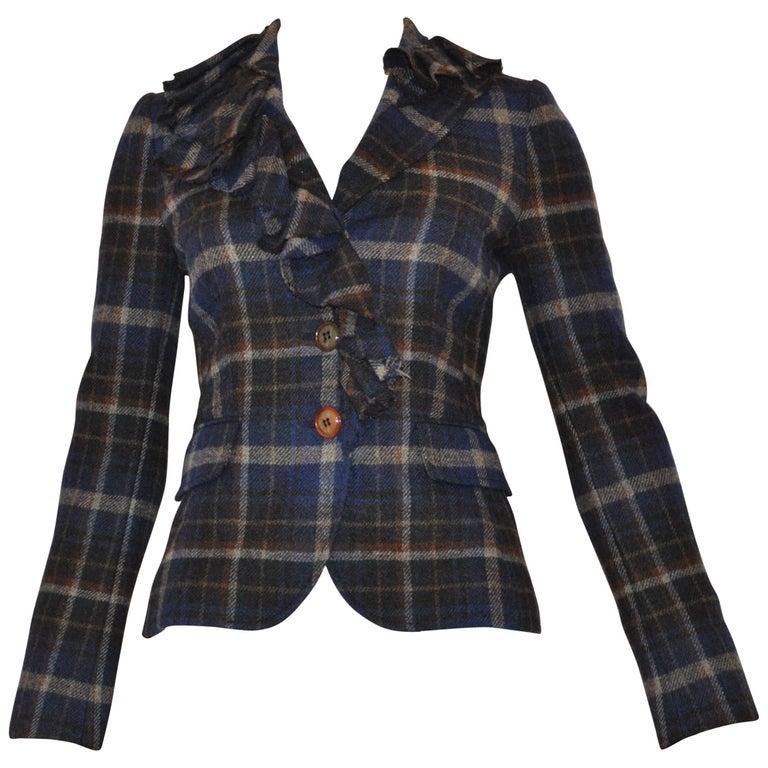 Moschino Cheap and Chic Ruffle Trim Plaid Jacket (38 Itl)