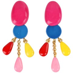 "DOMINIQUE DENAIVE S/S 2016 ""Hermine"" Multi-color Resin Clip On Dangle Earrings"
