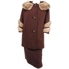1940s Brown Coat & Skirt Set w/ Mink Trim