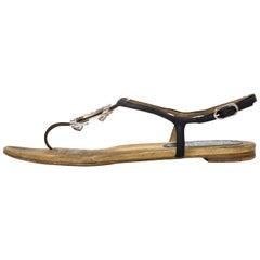 Chanel Black Leather CC T-Strap Sandals Sz 40.5