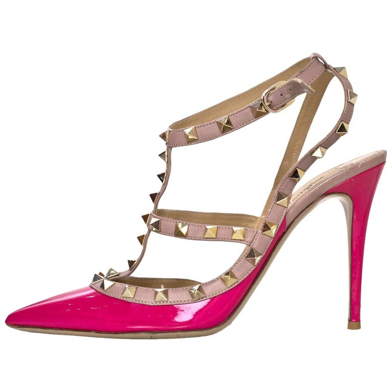 Valentino Pink Patent Rockstud 100mm Pumps Sz 40 For Sale