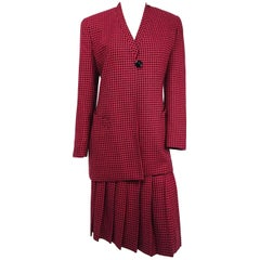 1980s Christian Dior Red & Black Houndstooth Two Piece Skirt Suit Set