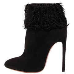 Alaia New Black Suede Ruffle Top Ankle Booties Boots in Box