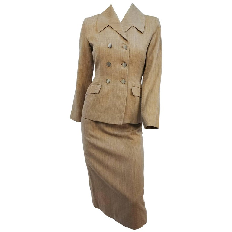 1950s Grey & Yellow Check Two Piece Suit Set