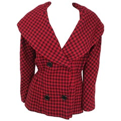 1950s Dan Millstein Red & Black Houndstooth Jacket