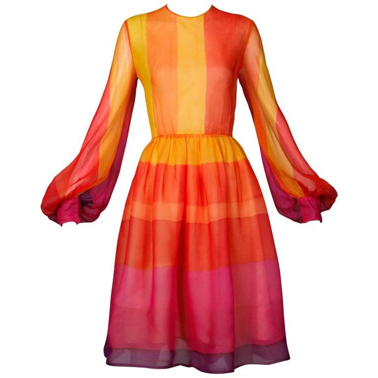 1960s Kiki Hart Vintage Bright Rainbow Dyed Color Block Silk Chiffon Dress