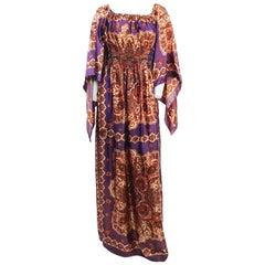 1970s Purple Paisley Handkerchief Dress