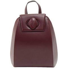 Vintage Cartier Burgundy Cowhide Leather Backpack Bag