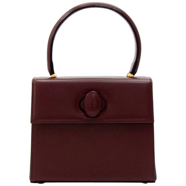 Vintage Cartier Burgundy Cowhide Leather Handbag