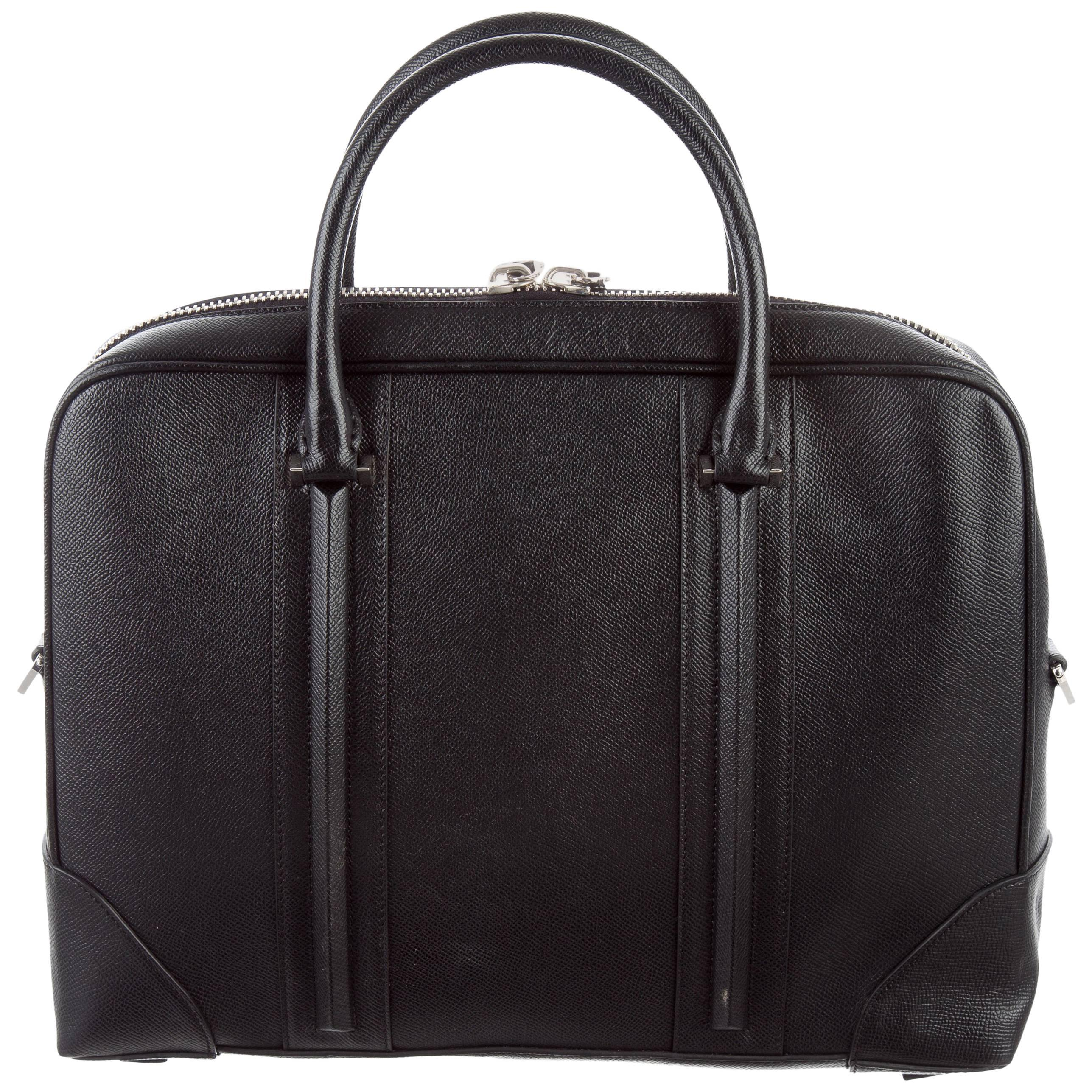Givenchy New Black Leather Mens Business Travel Briefcase Tote Shoulder Bag cDqetGRo6
