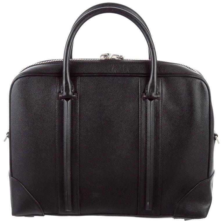 Givenchy New Black Leather Men's Business Travel Briefcase Tote Shoulder Bag