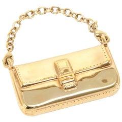 Fendi Gold Baguette Bag Pendant Charm