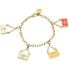 Fendi Gold Tone Baguette Bag Charm Bracelet