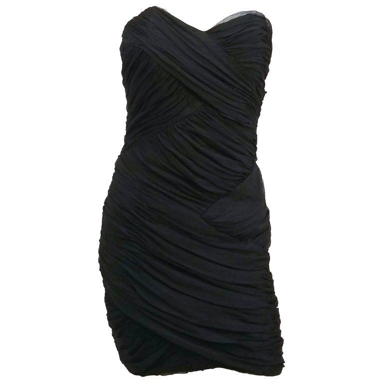 David Fielden Black Strapless Silk Chiffon Cocktail Dress For Sale