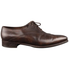 Men's JOHN LOBB Size 10 Brown Leather Square Point Toe BECKETTS Lace Up
