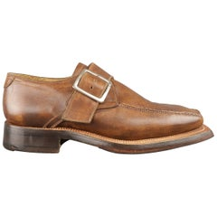 STEFANO BRANCHINI Size 9 Brown Distressed Leather Square Toe Monk Strap Loafers