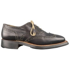 Men's STEFANO BRANCHINI Size 9 Navy Perforated Leather Square Toe Brogues