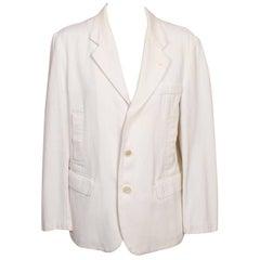 Comme des Garcons White Cotton Pique Jacket