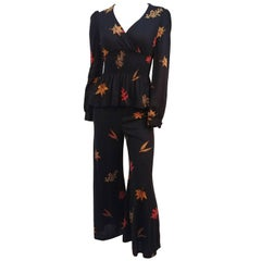 1970s Knit Two Piece Top & Pant w/ Printed Maple Leaves