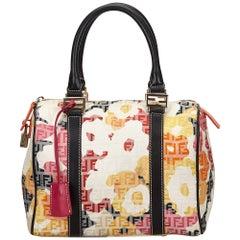 Fendi White Zucchino Floral Jacquard Handbag
