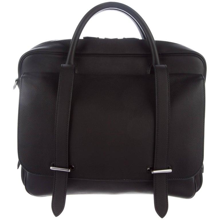 Hermes New Black Leather Men's Women's Top Handle Business Travel Shoulder Bag For Sale