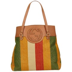 Gucci Multicolor Striped Canvas Handbag