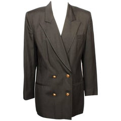 Christian Dior Double Breasted Charcoal Grey Blazer  6