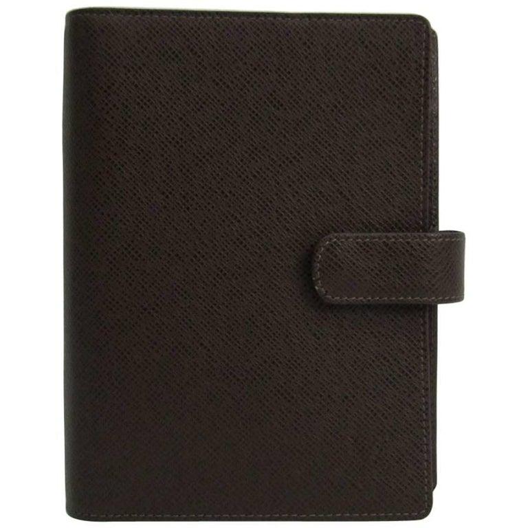 Louis Vuitton Brown Leather Binder Medium Men's Women's Travel Planner
