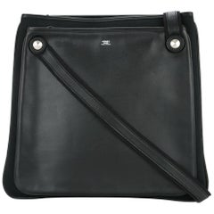 Hermes Black Leather Canvas Men's Top Handle Satchel Tote Shoulder Bag in Box
