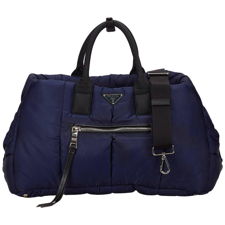 Prada Navy Blue Bomber 2 Way Handbag