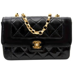 Chanel Black Patent Leather Chain Bag