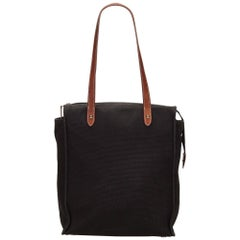 Hermes Black Canvas Handbag