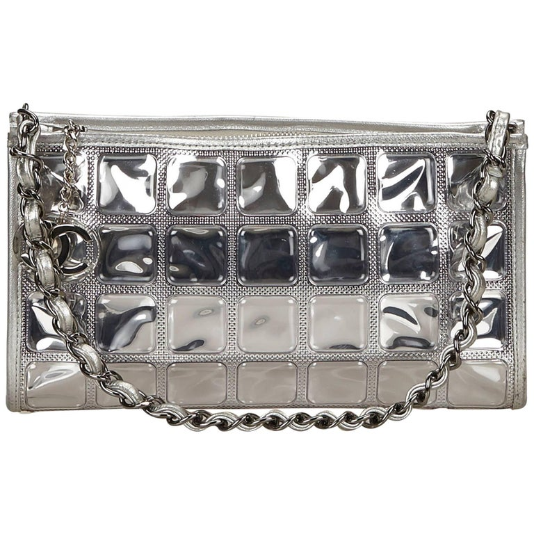 1d23bcace8d6 Chanel Silver Ice Cube Flap Bag For Sale at 1stdibs