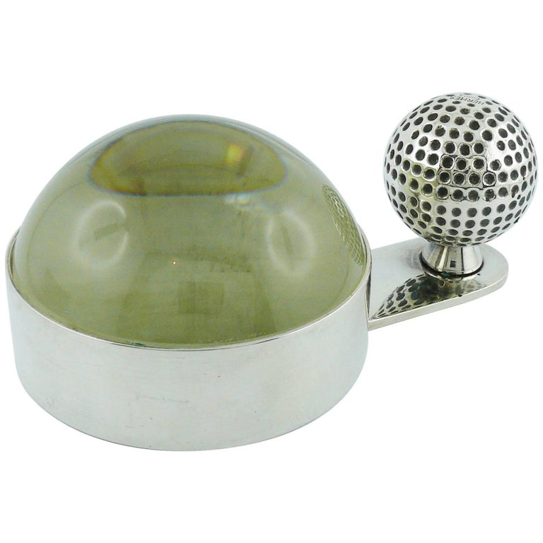 Hermes Vintage Silver Plated Golf Ball Desk Paperweight Magnifier