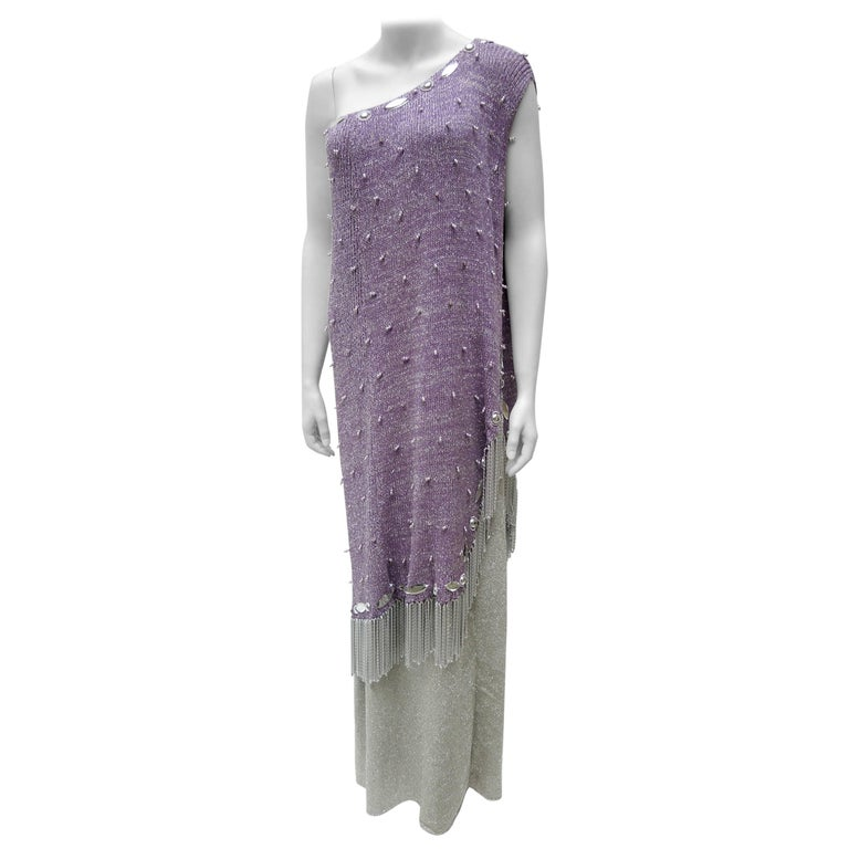 Adolfo for Saks Fifth Avenue Purple & Silver Knit Chrome Chain Fringed Gown